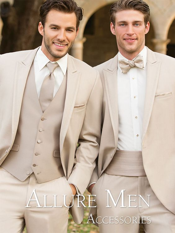 Beige Wedding Suits for Men Groomsmen Jacket Slim Fit 3 Piece Groom Tuxedos Custom Suit Prom Blazer Jacket+Vest+Pants