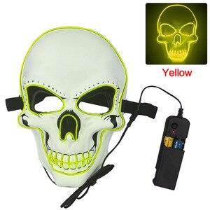 Image 3 - Halloween Mask Neon Masks LED Scary Skull Masque Skeleton Horror Maske Masquerade Party Mascara Glowing Carnival Masker Cosplay