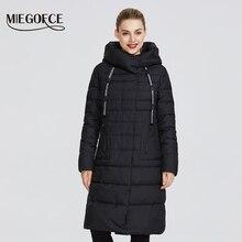 Miegofce 2019 스탠드 칼라 및 후드 파카가있는 코트 무릎 길이 방풍 여성 자켓의 새로운 겨울 여성 컬렉션