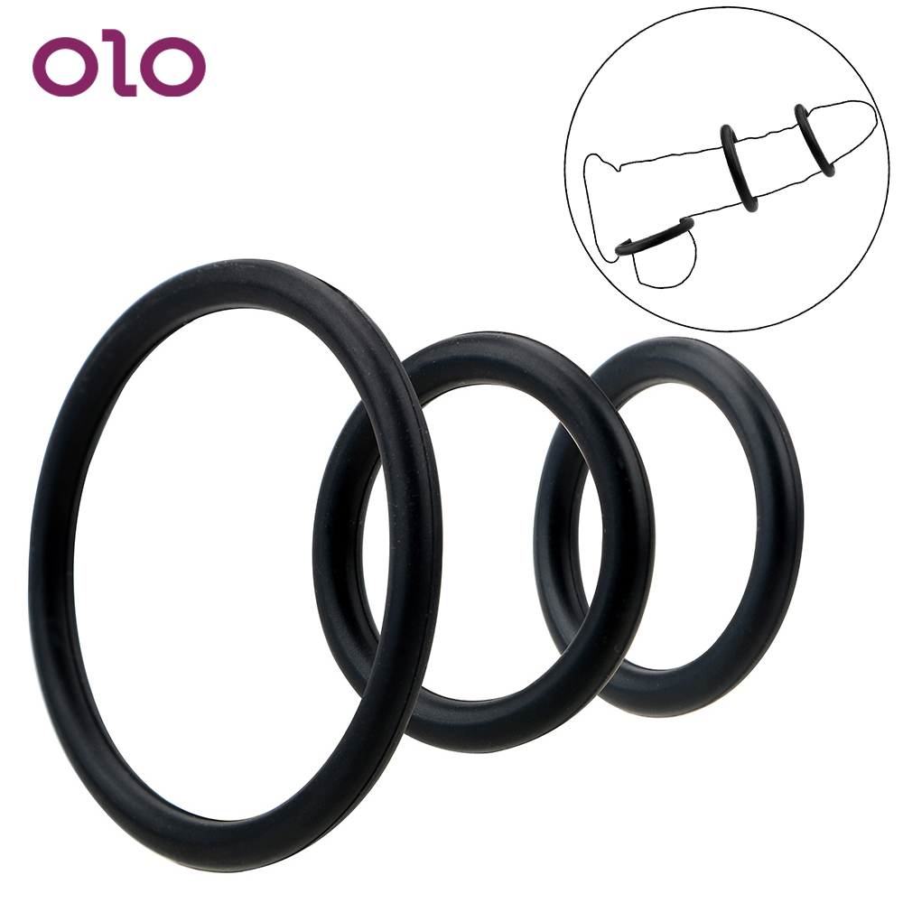 OLO 3 Pieces/Set Delay Ejaculation Sex Toys For Men Semen Lock Ring Elastic Penis Rings Cock Ring Silicone Adult Product