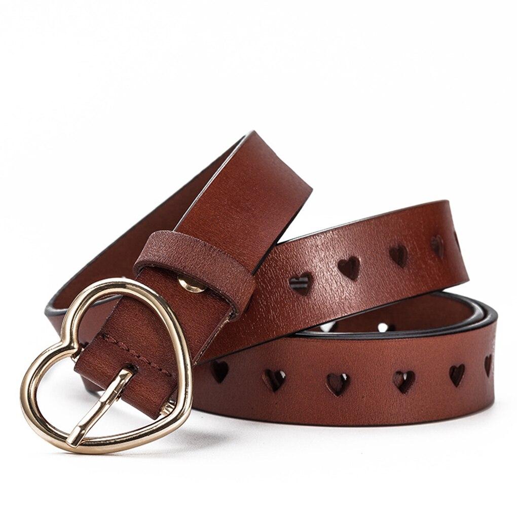 Fashion Women Genuine Leather Heart-shaped Cowskin Women Belts Brown Women's Jeans Belt