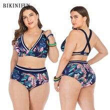 2020 New Plus Size Swimsuit Floral Print Bikini Women Backless Swimwear L-4XL Girl High Waist Bathing Suit Cross Back Bikini Set plus floral print bikini set