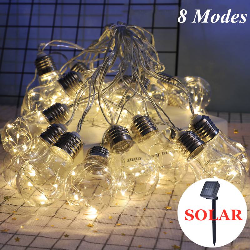 Solar Hanging Lights,Outdoor Clear Bulb String Lights,Fairy Lights For Garden Gazebo Christmas Balcony Wedding Party Decor