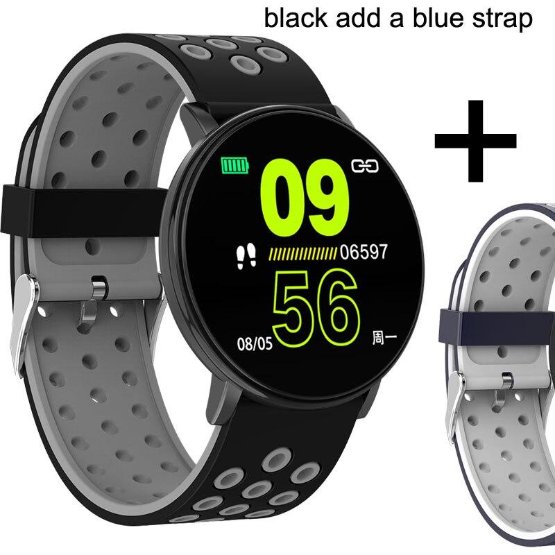 Спортивные Смарт-часы для мужчин, водонепроницаемые Смарт-часы для измерения артериального давления для женщин, монитор сердечного ритма, Bluetooth, умные часы для Android IOS - Цвет: W8C a blue strap