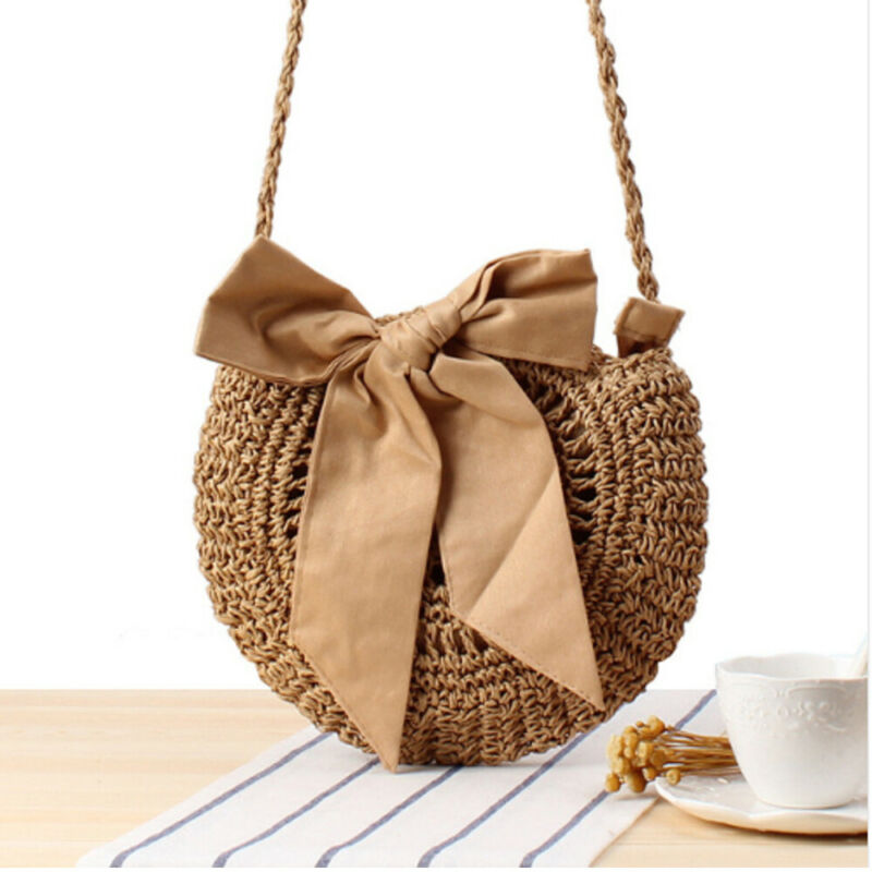 New Fashion Women Hand Woven Bow Bag Round Rattan Straw Bohemia Style Summer Beach Bags Ladies Cross Body Bowknot Handbags