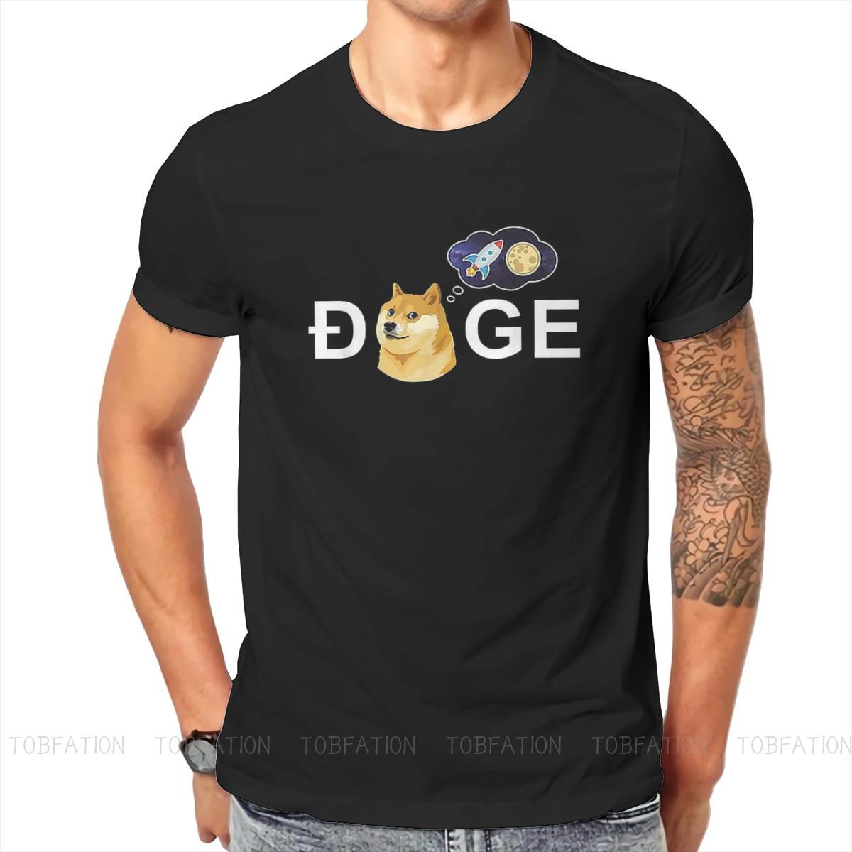 Bitcoin Cryptocurrency Art Dogecoin Doge HODL To the Moon Meme T Shirt Vintage Oversized Cotton Men Tees Harajuku O-Neck TShirt 1