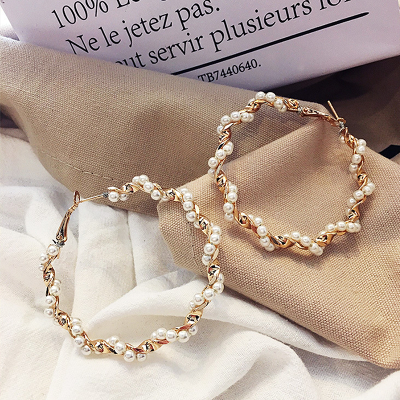2019 New Statement Simulated Pearl Wrap Big Circle Earrings For Women Personality Fashion Hoop Ear Accessories Brinco