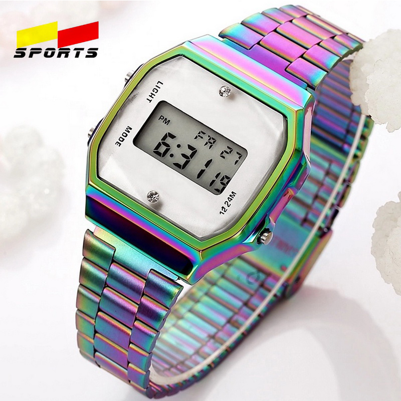 QW Sports 3ATM Vintage Womens Men Stainless Steel Digital Alarm Stopwatch Wrist Watch (color white watch)