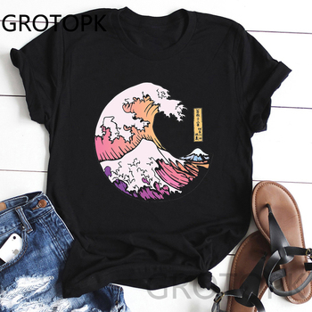 Women Harajuku Black T Shirt Japanese Style Waves Moon Printed Tshirt Korean Style Streetwear Tops Aesthetic Camisas Mujer Tee
