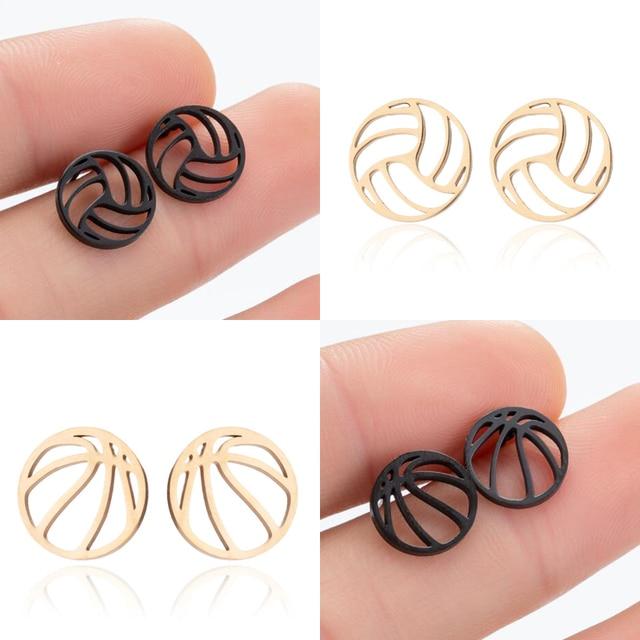 SMJEL Stainless Steel Volleyball Stud Earrings Fashion Sports Jewelry Hollow Basketball Earrings Piercing Women Men Club Gifts