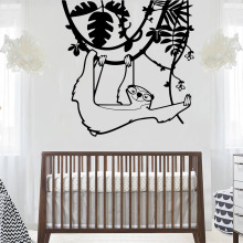 Nursery Baby Room Sloth Animal Forest Jungle Bedrom Decor Tree Wall Sticker Vinyl Art Design Poster Mural W670