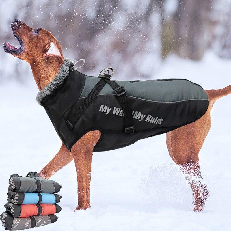 Куртка для больших собак, меховой воротник, зимняя одежда для собак, водонепроницаемое пальто для больших собак со съемной подвязкой, наряд для французского бульдога, Мопса-1
