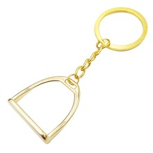 Simple Elegant Design Western Stirrup Keychain Key Ring Hanger Tool for Men Women Bag Decoration Equestrian Equine Horse Theme(China)