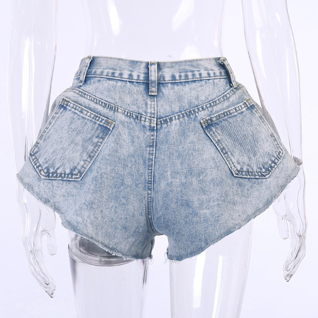 TWOTWINSTYLE Casual Denim Short For Women High Waist Patchwork Tassel Sexy Shorts Female Summer Fashionable New Clothing Style 6