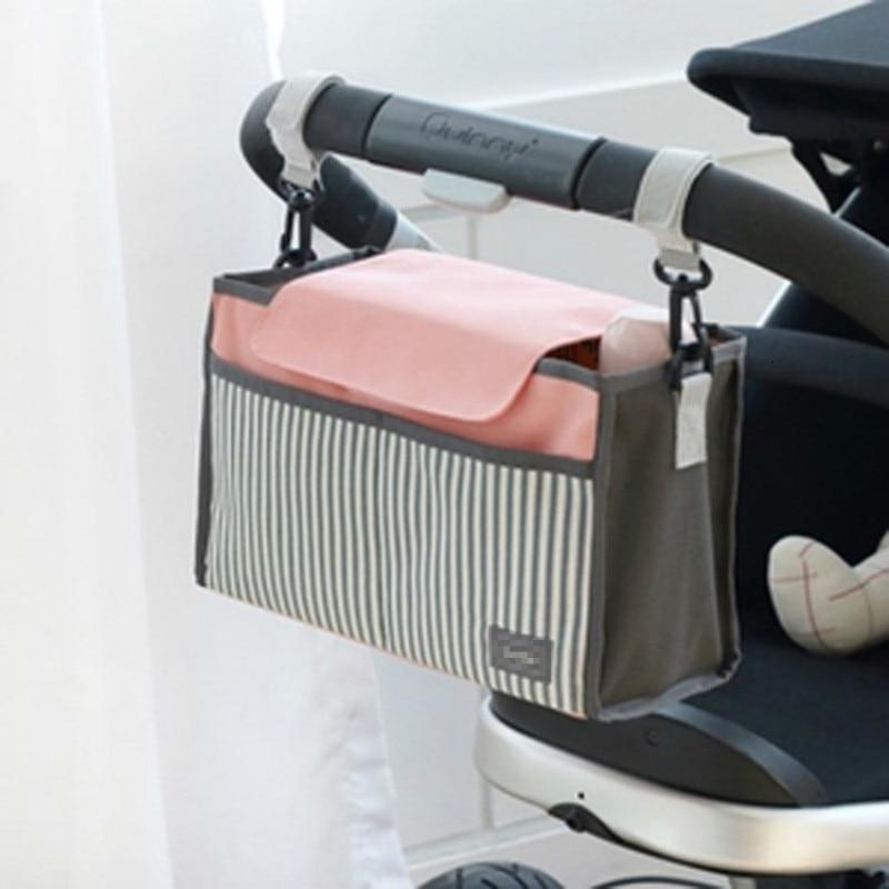 Baby Mummy Bags Baby Diaper Bag Waterproof Multi-function Convenience Baby Stroller Hanging Bags Stripe Mommy Package