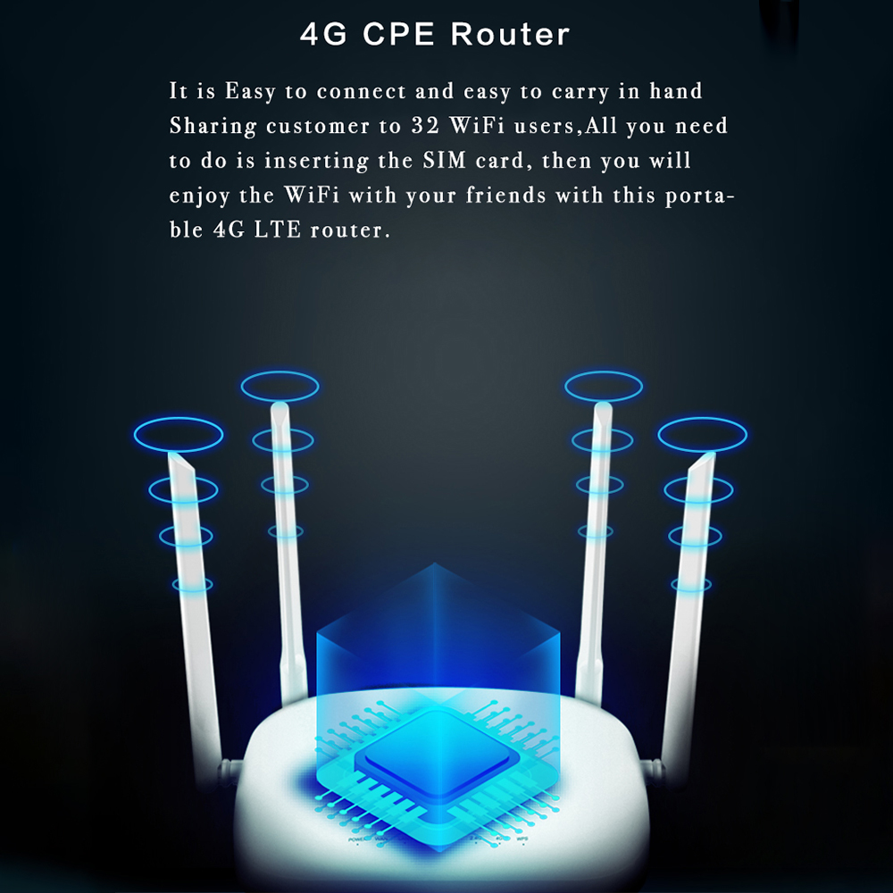 CPE 4G LTE Smart WiFi Wireless Router with 300Mbps Speed and SIM Card Router along With 4pcs External Antennas and Qualcomm Chip 2