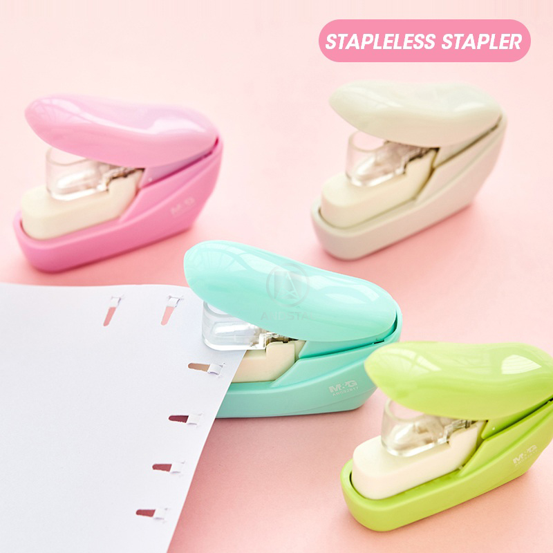 M&G Cute Eco-friendly Stapleless Stapler Without Stapless Staple-free Mini Kawaii Paper Staple Free Stapling For School Office