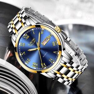 Image 2 - LIGE Watch Men Fashion Sports Quartz Full Steel Gold Business Mens Watches Top Brand Luxury Waterproof Watch Relogio Masculino