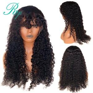 Image 5 - 13x4 invisível 150% 1b30 ombre cor frente do laço perucas de cabelo humano com franja preplucked encerramento encaracolado frontal peruca do laço indiano remy