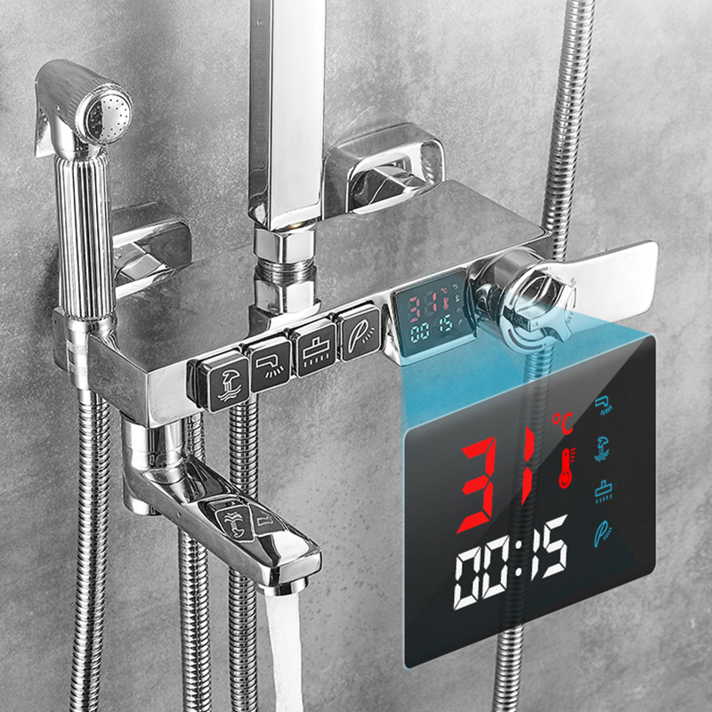 H3945169f2c8e4441b4f2c3f336d6d7c80 Chrome Thermostatic Digital Display Shower Faucet Bathroom Shower Faucet Rain Shower Bath Faucet Bathtub Faucet Bidet Faucet