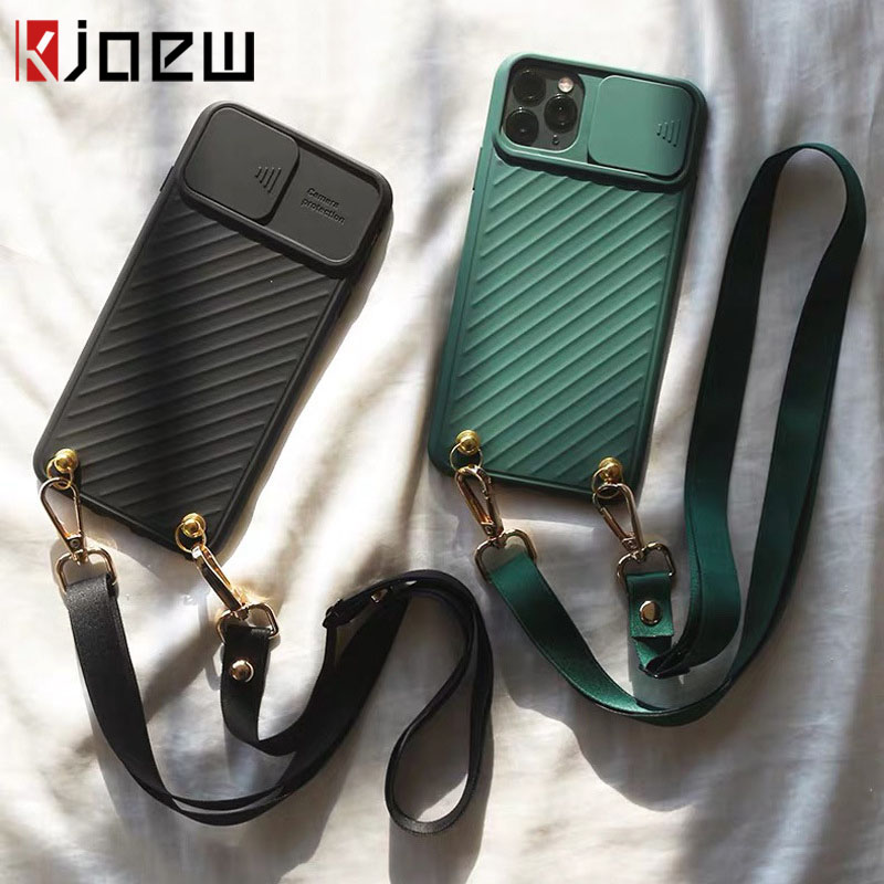 KJOEW Case For iPhone 11 11Pro Max XR X XS SE 2020 7 8 Plus Camera Protection Crossbody Shoulder Strap Lanyard Lens Phone Cover