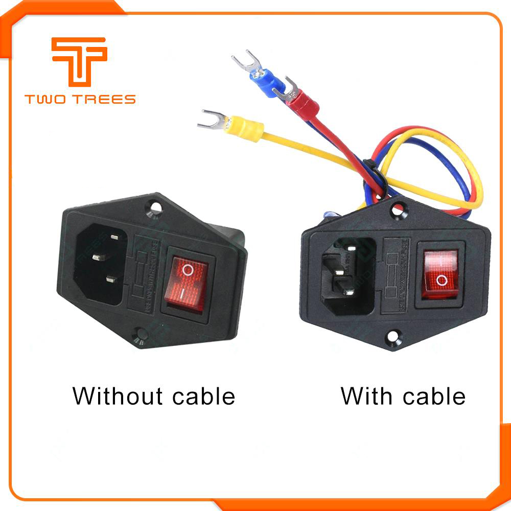 220V/110V 15A Power Supply Switch Male Socket with Fuse as 3D Printer Accessories 2