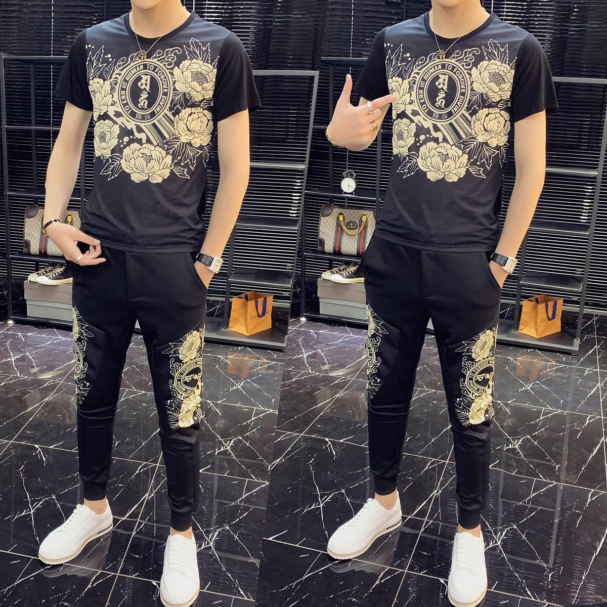 2020 High Quality Fashion Two Piece Set Men Tracksuit Slim Fit Outfits Men Set Short Sleeve T Shirt 2 Piece Set Top And Pant Men