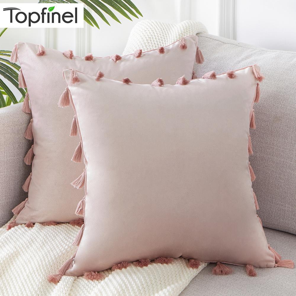 Cuscini Beige Per Divano us $10.38 50% di sconto|topfinel morbido velluto coperte e plaid s federe  decorazione cuscini coperture piazza con la nappa per divano auto letto di