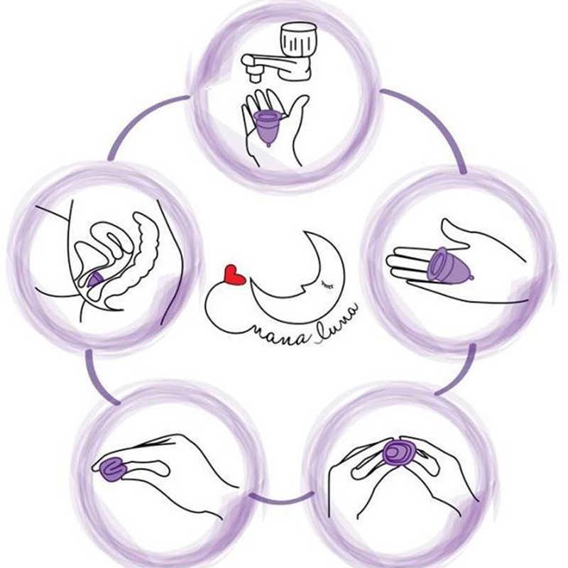 1 Pc Silikon Menstrual Tasse Grade Weiche Mond Dame Zeitraum Hygiene Reusable Cup S/L Größen Zufällige Farbe