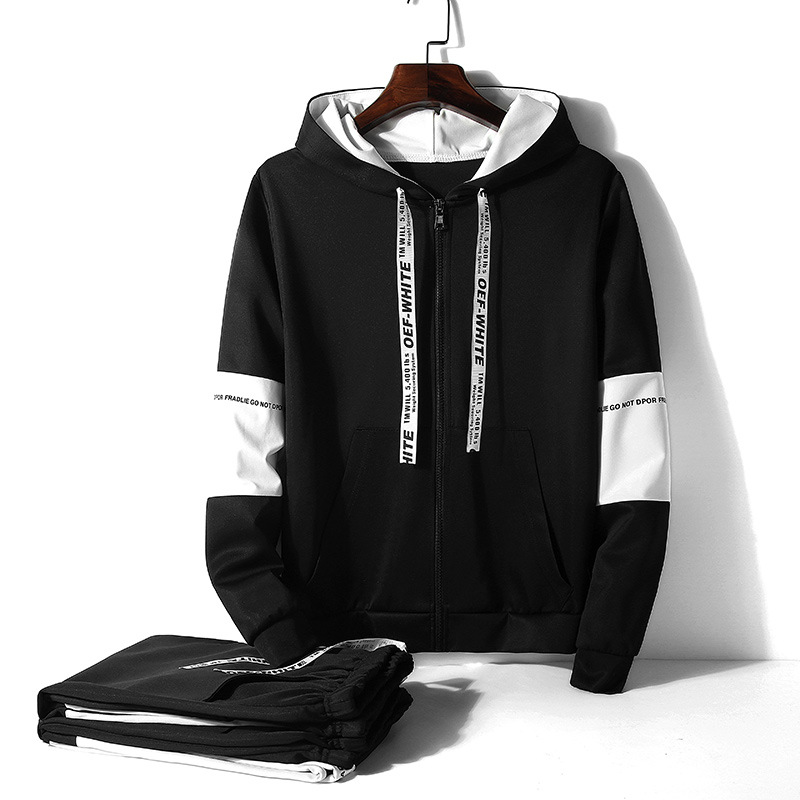 Autumn And Winter Korean-style Men's Casual Hoodie Leisure Suit-Style Slim Fit Webbing Mixed Colors Sports Set
