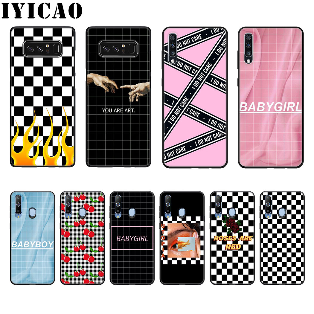 Plaid Checked Checkerboard Art Soft Silicone Case for Samsung Galaxy A70 A60 A50 A40 A30 A20 A10 M40 M30 M20 M10 Cover image