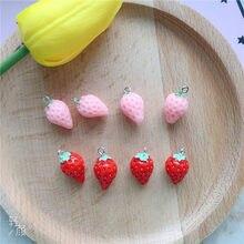 10 unidades/pacote resina 3d morango encantos pingente artesanato plástico brinco chaveiro diy artesanal jóias fazendo