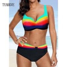 New Bikini 2019 Push Up Tankini Women Sexy Two Piece Swimsuit Plus Size Swimwear Vintage Neon Bikinis Biquini Bathing Suit S-XXL