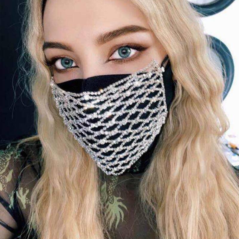 Креативная маска для лица с цепочкой из горного хрусталя для женщин, сексуальная ночная Клубная рыболовная сеть, ювелирная маска для лица, м...