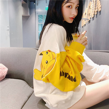 Cute Pikachuu Pokedex Women's T-shirts Spring 2020 O-neck Pokemon T shirt Women Casual Premium T-Shirt Long Sleeve Shirt Girl image