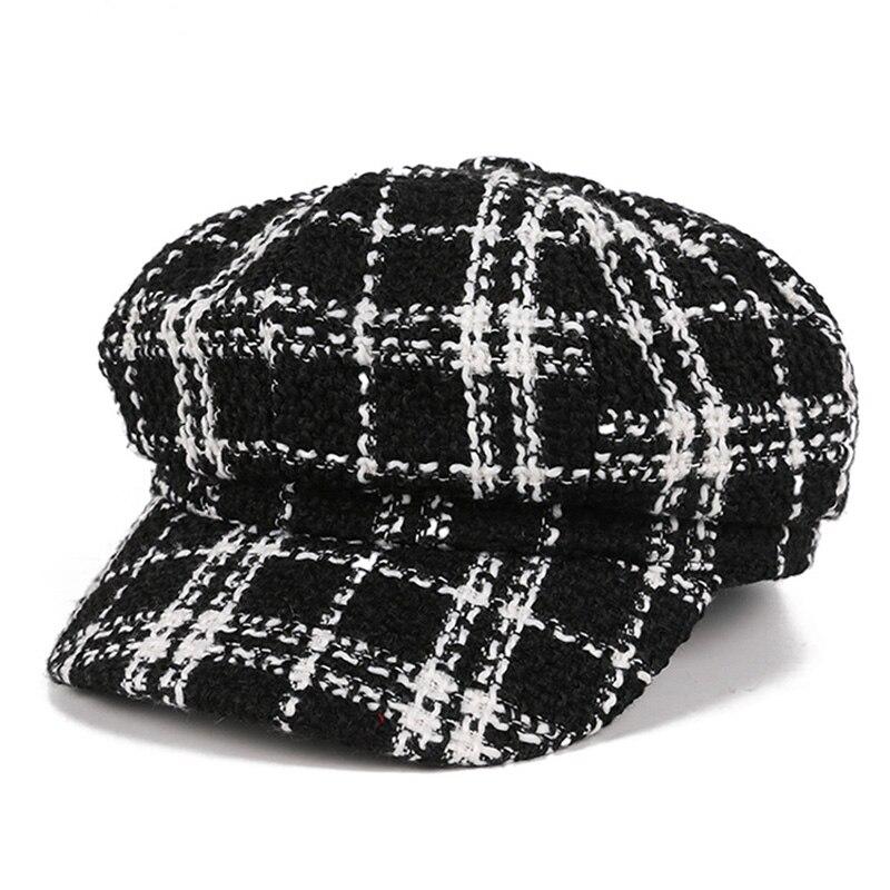 Gorros informales de lana para hombre y mujer, gorro plano liso octogonal, estilo pintor