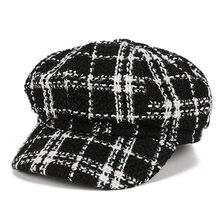 Neue Herbst Winter Hüte für Frauen Solide Plain Achteckige Newsboy Caps Männer Damen Casual Wolle Hut Winter Baskenmütze Frauen Maler kappe
