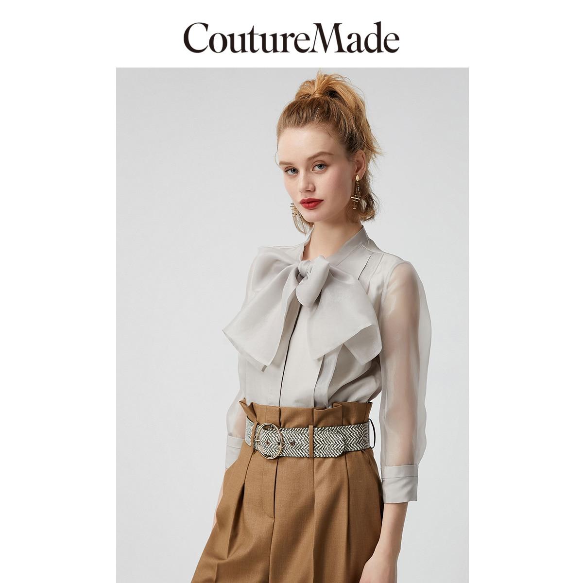 Vero Moda ContureMada Women's 44% Mulberry Silk Bowknot Neckline Spliced Shirt | 320131539