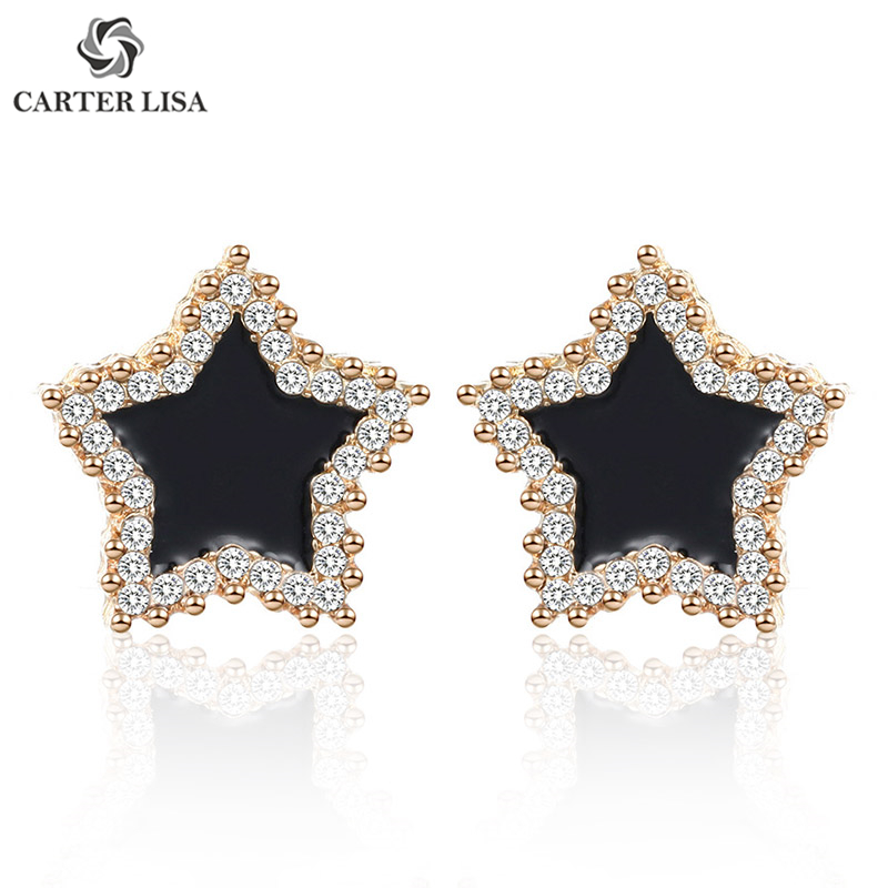 CARTER LISA Korea Temperament Personality Sweet Design Pentagram Earrings Rhinestone Stud Earrings For Women Jewelry Accessories