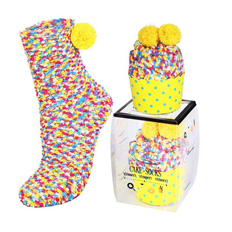Women Girls Candy Color Pompom Coral Velvet Slipper Socks With Cupcake Packaging M6CD