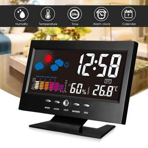 Digital LED Alarm Clock Temperature Humidity Monitor Desktop Weather Station Table Wake Up Snooze Time Date Clocks Voice Control