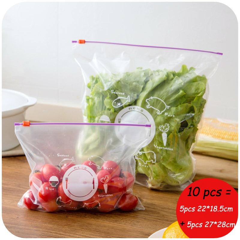 20pcs /Set Reusable Fresh Zipper Bag Freezing Heating Food Saran Wrap Storage Bag Zip Lock Poly Bags Kitchen Accessories