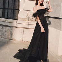 Eightree Black Tulle Evening Dress with Feather Sexy Off Shoulder Prom Party Dress Formal Special Evening Celebrity Gowns Custom black stripe pattern elastic off shoulder sexy dress