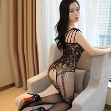 Sexy Fishnet Bodysuit Women Jacquard See Through Open Crotch Body stockings Mesh