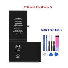 Najwyższej jakości baterie dla iPhone X 10 wewnętrznego litowo-polimerowa bateria do 2716mAh z bezpłatnych narzędzi w
