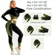 Женский бесшовный комплект для йоги, тренировочная спортивная одежда, одежда для спортзала, фитнес, короткий топ на молнии с длинным рукаво...
