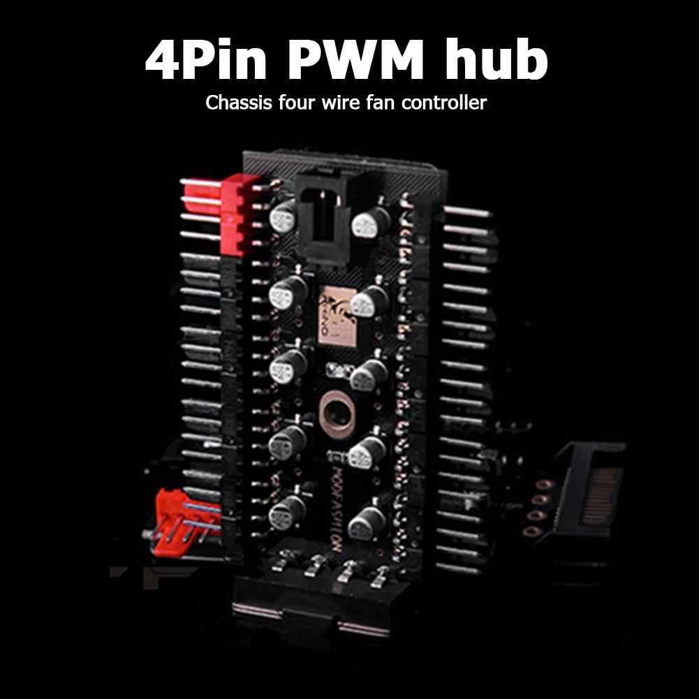 メインボードマザーボード 1 に 10 4 ピンpwmクーラーファンハブスプリッタ延長 12v電源ソケットpc速度コントローラアダプタ