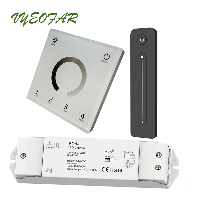 New Led Strip Dimmer 230V 110V Touch Panel 4 Zone Wifi 2.4G RF Remote 12V Single Color Strip Controller 15A Wireless Receiver