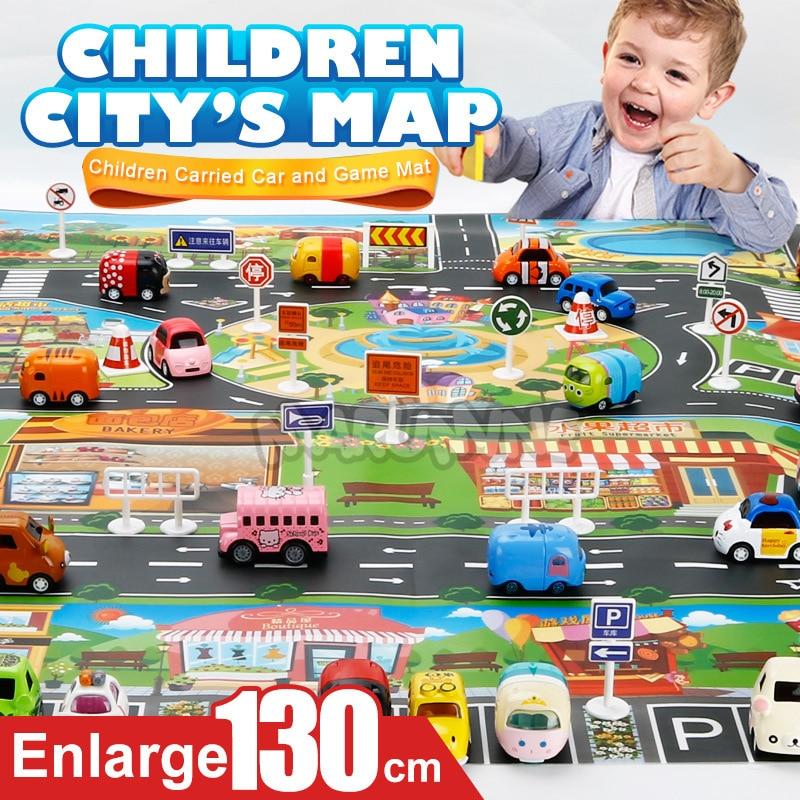 Marumine Kids Road Mat 130*100CM Play Mat City Car Taffic Highway Map Carpe Floor Play Mat Educational Toys For Kids Gym Games | Happy Baby Mama