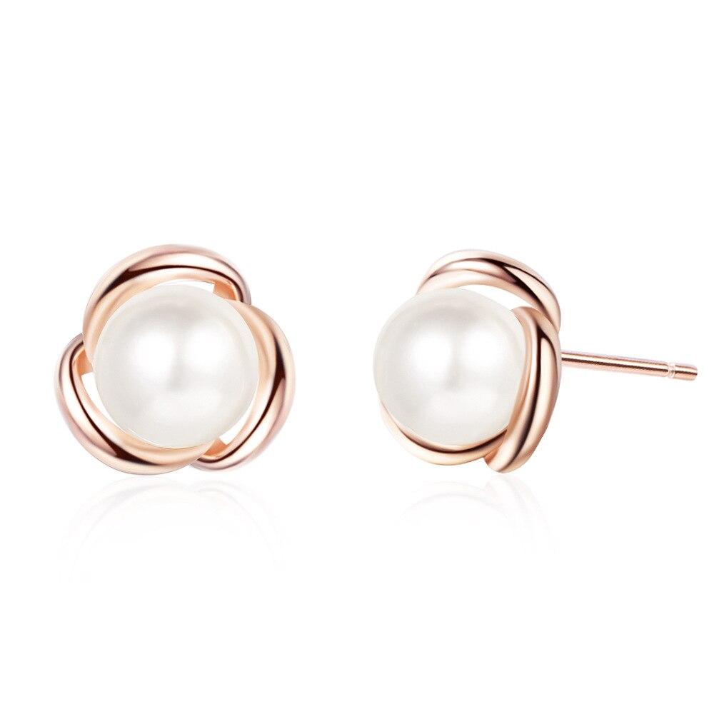 Luxury Korean Simple Pearl Rose 925 Sterling Silver Gold Stud Earrings For Women Flower Fashion Dainty Trendy Jewelry Bijou Gift